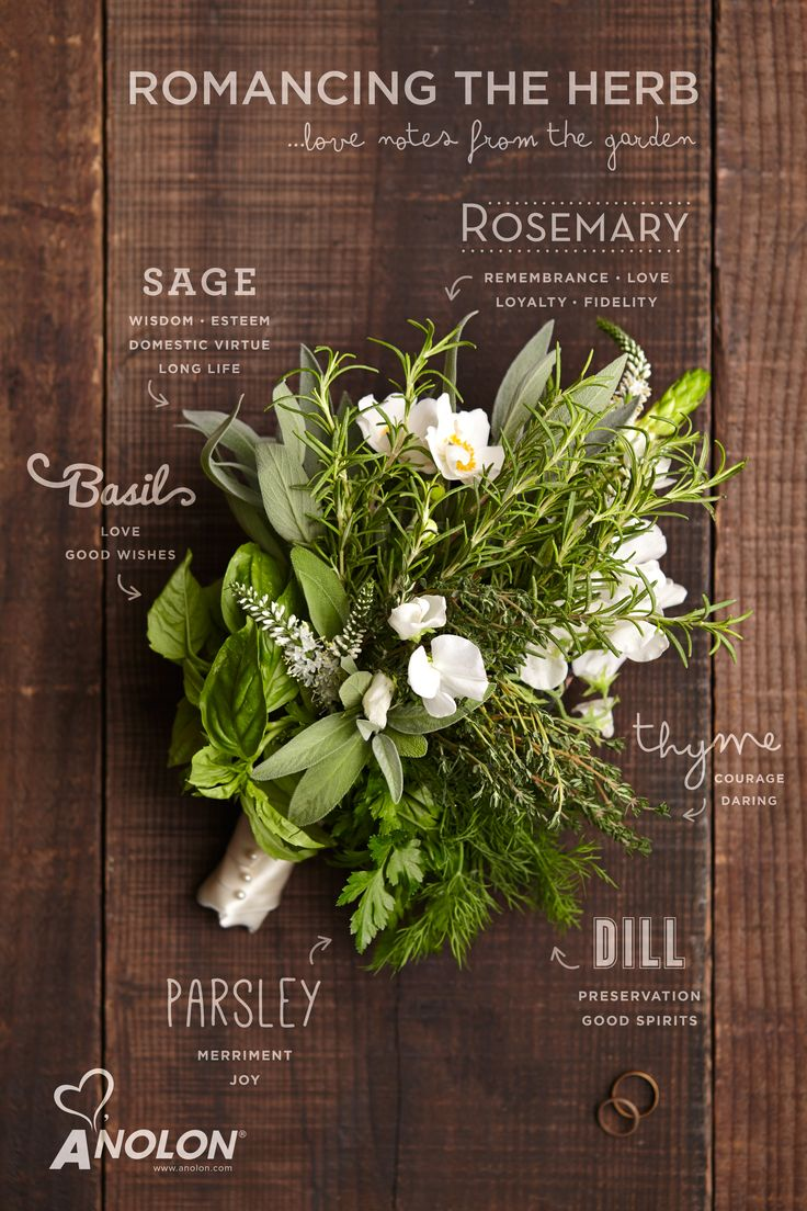 Romancing the Herb: the symbolization and the meaning each herb makes for a unique and fragrant wedding day bouquet. #LoveAnolon