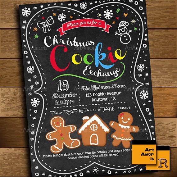 Christmas Cookie Exchange Invitation Cookie Swap by ArtAmoris