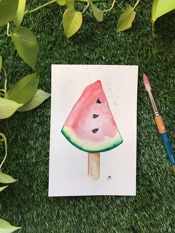 Illustration Popsicle Melon  Aquarelle  Fait à la main