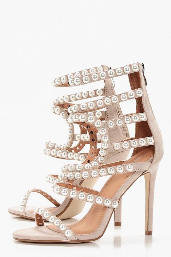 Premium Ella Pearl Embellished Gladiator Heel | Boohoo