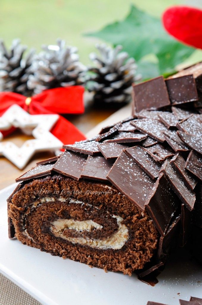 Tronchetto di Natale al tiramisu e nutella buche de noel vickyart arte in cucina