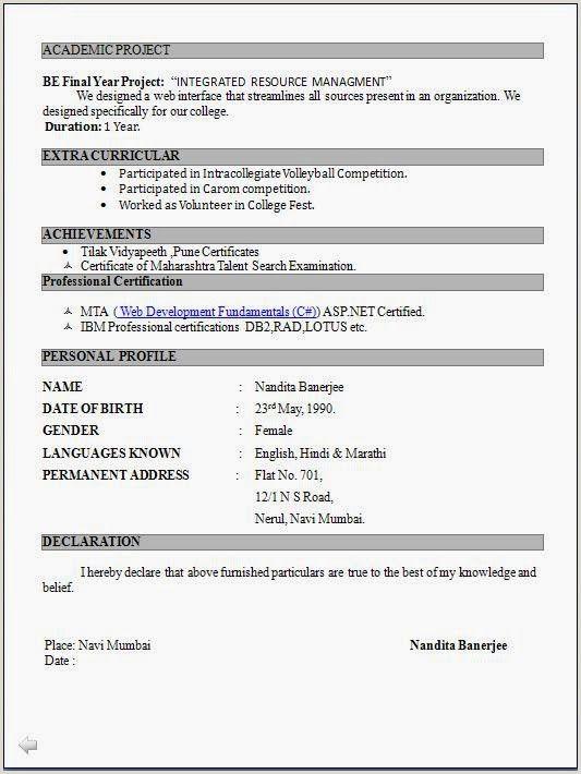 Fresher Teacher Cv Format Pdf Resume Format For Freshers Latest