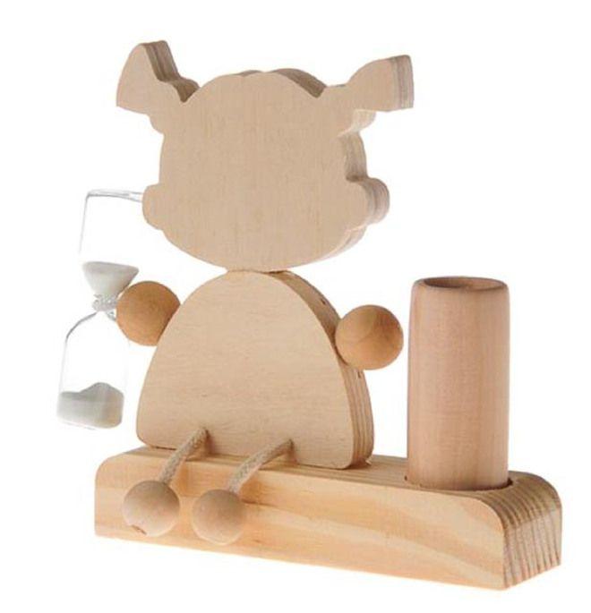 Portaspazzolino da denti di legno - Bambina