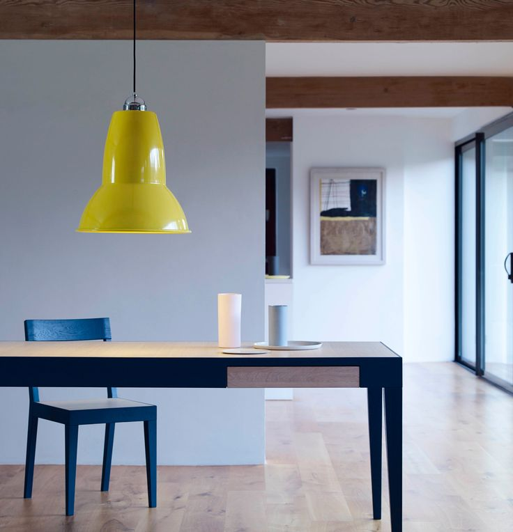 The Original 1227™ Giant pendant demands to be noticed. Positioned over a dining or meeting room table, a kitchen worktop, or anywhere you please, its larger-than-life scale and stunning range of colours will inject playful, individual style into any interior space. For custom colours and finishes, please contact sales@anglepoise.com Pictured in Citrus Yellow.