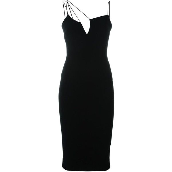 Victoria Beckham Asymmetric Cut Out Fitted Dress ($2,045) ❤ liked on Polyvore featuring dresses, short dress, black, kohl dresses, black fitted dress, black asymmetrical top, cut out dress and fitted dresses