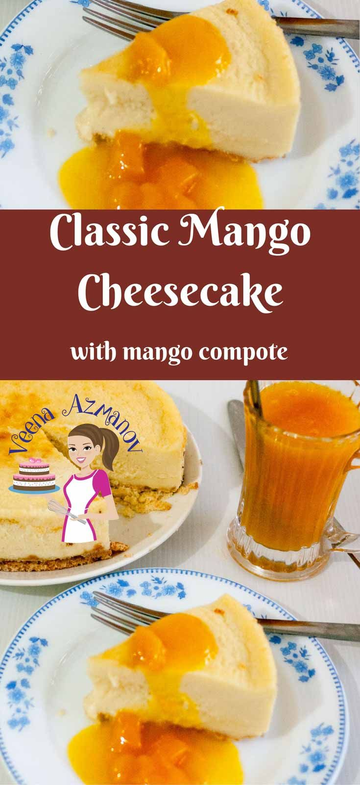 This classic mango cheesecake with mango compote makes an exotic tropical dessert in summer with fresh mango or anytime of the year with frozen mangoes. The natural sweetness and flavor of mangoes makes this a real treat while the recipe itself is simple, easy and classic. via @Veenaazmanov