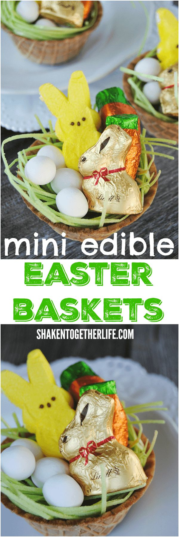 Mini Edible Easter Baskets! Each little 'basket' is filled with goodies and even edible Easter grass - great activity for the kiddos! These would make such cute place holders for Easter dinner, too!