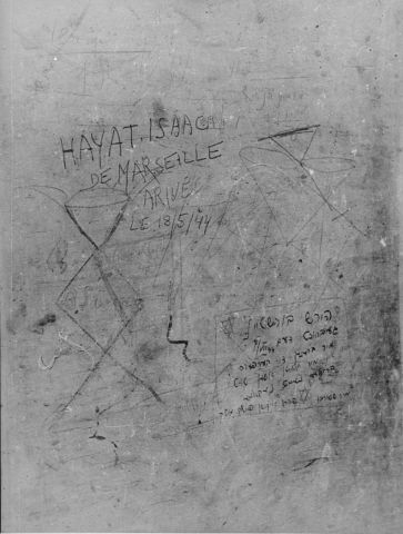 Messages scrawled by Jewish prisoners on a wall inside Fort IX, shortly before their execution. Kaunas.