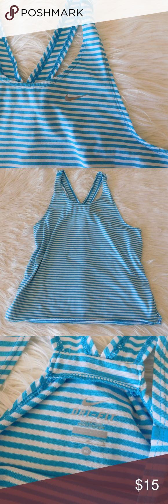 Nike Tailwind Stripe Running Tank Tidal Blue - M Good, preowned condition! Blue and white striped tank - great for running or the gym! From the website: Racerback tank top, Vented hem, Dri-Fit fabric, Reflective Nike swoosh logo on left chest, 85% Polyester 15% Cotton.  I have lots of workout clothes too! So bundle away & save! 🤑🤑💪 Nike Tops Tank Tops