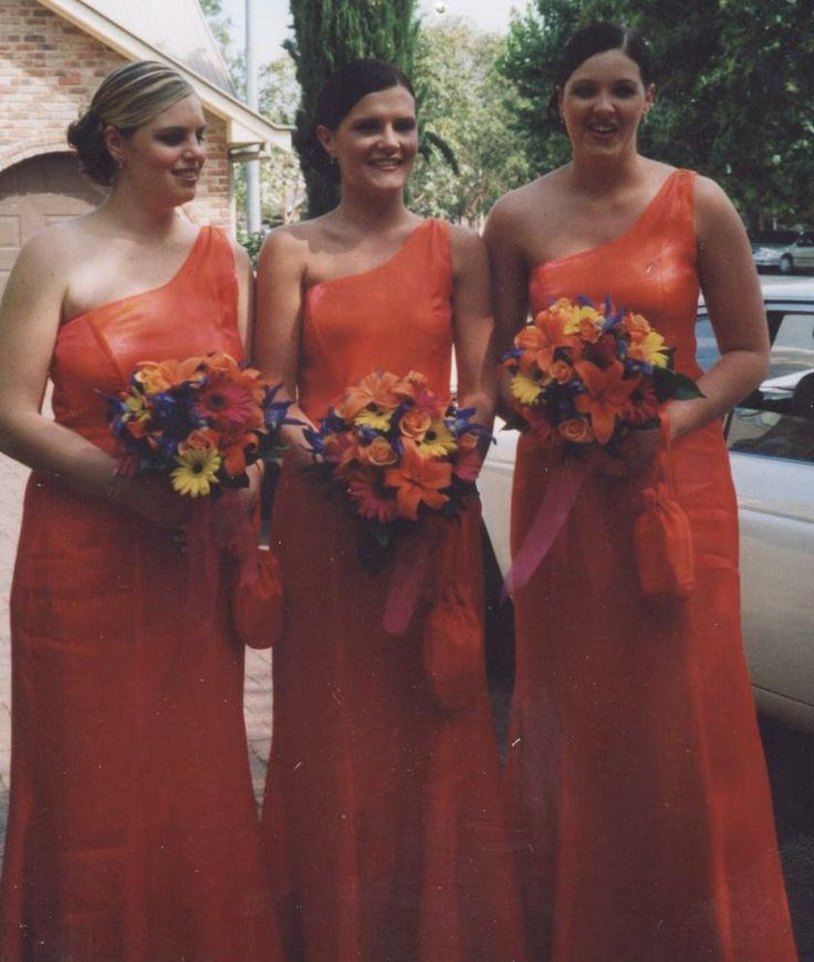 Orange Bridesmaids gowns Gowns of Elegance and Grace. www.gownsofeleganceandgrace.com.au