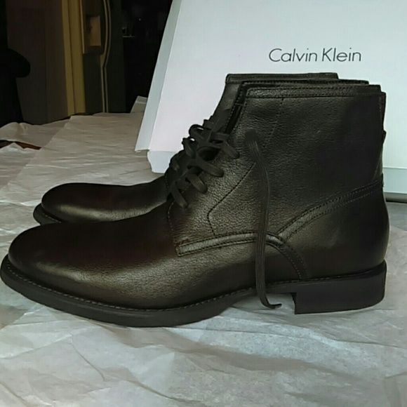 Brand new Calvin Klein men's leather ankle boots Caesar G. Nappa Color:  dark brown Calvin Klein Shoes Ankle Boots & Booties