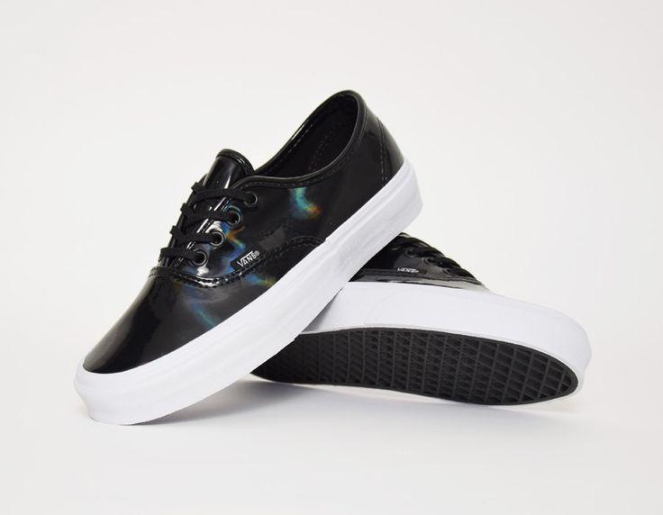 vans authentic black leather shoes