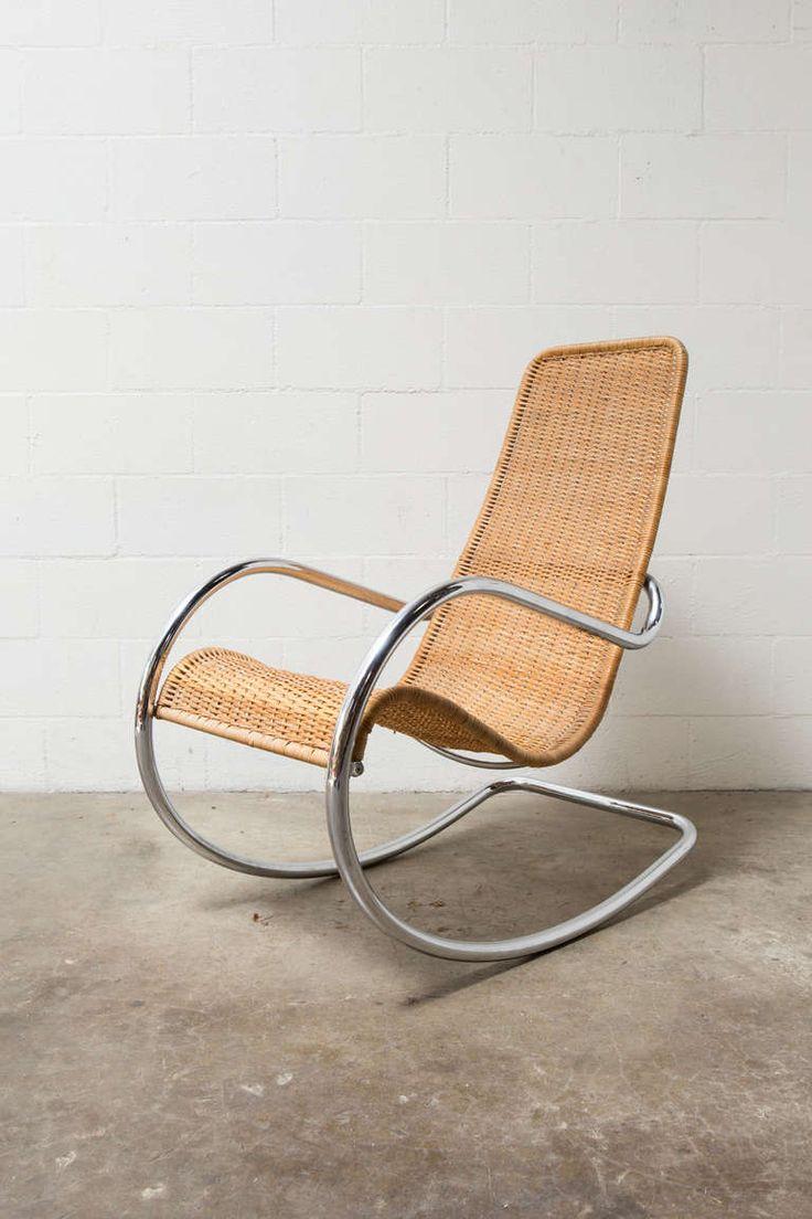 Vintage rattan rocking chair - Rattan And Chrome Italian Rocking Chair