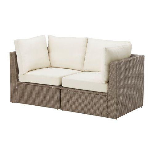 IKEA - ARHOLMA, 2人掛けソファ 屋外用, , お好きなユニットを自由に組み合わせて、自宅のテラスや庭にぴったり合ったソファコンビネーションをつくれますさまざまなサイズや色のクッションを組み合わせると、より快適な座り心地に。お好きなコーディネートで個性を演出できます天然籐のような風合いの手編みのプラスチックラタン。耐久性に優れているので、屋外での使用に適しています足の長さを微調整できるので、平らでない場所でも安定します