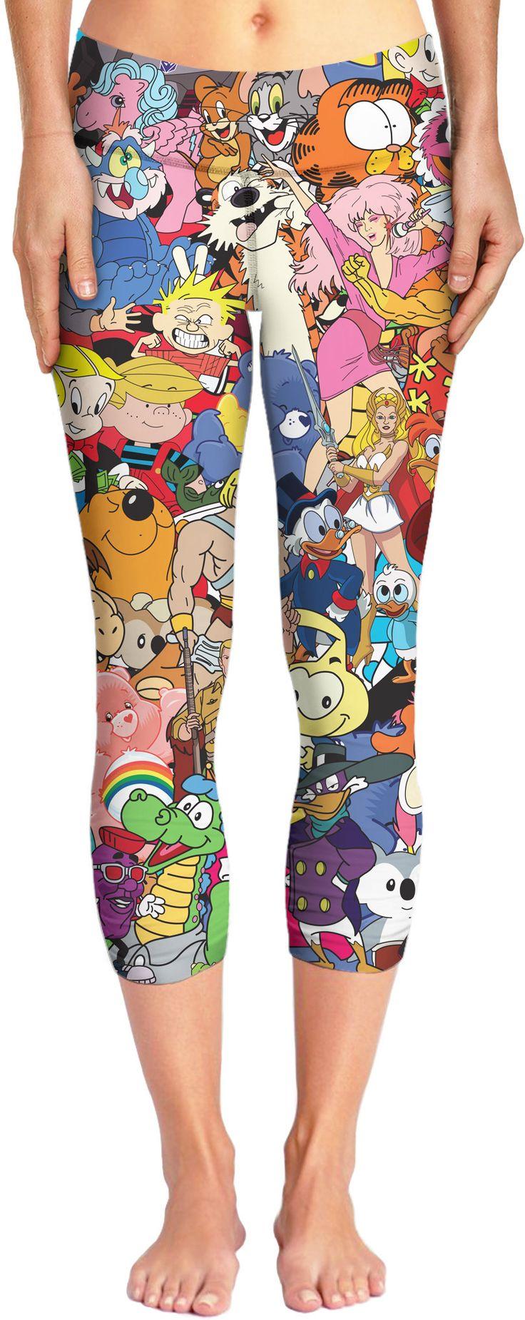 80's Cartoon Collage Capri Yoga Pants