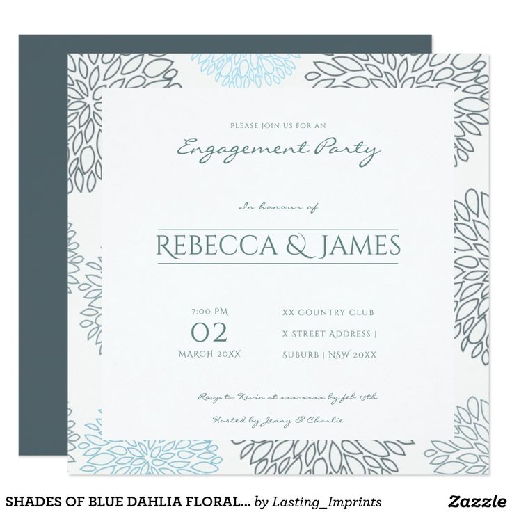 SHADES OF BLUE DAHLIA FLORAL PATTERN ENGAGEMENT CARD