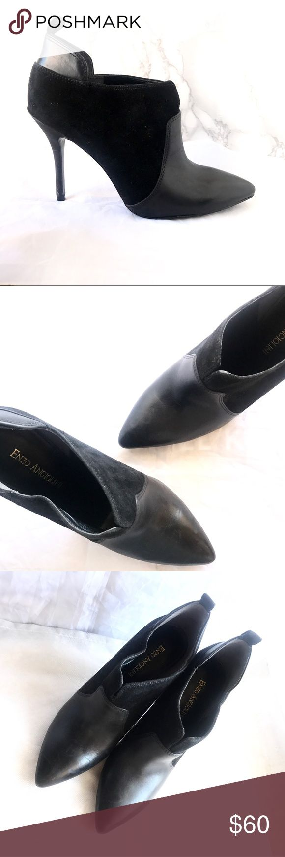 "Enzo Angiolini Booties Almost like new gently used preloved Enzo Angiolini black suede booties; heel height approx. 3""in; super comfortable sleek and stylish! Great as Office attire or a night out! Enzo Angiolini Shoes Ankle Boots & Booties"