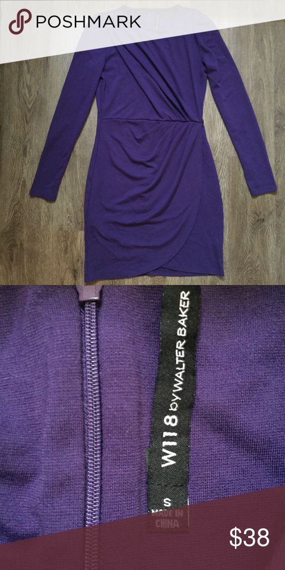 Walter Baker Purple Rouges Long Sleeve Dress Sz S Pretty Purple rouged long sleeve dress from W118 Walter Baker 😍 Size Small. 67% rayon, 29% polyester, 4% spandex W118 by Walter Baker Dresses