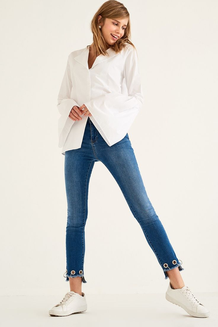 Mid Blue Kuş Gözü Detaylı Yüksek Bel Skinny Jean TRENDYOLMİLLA   Trendyol