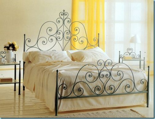 green wrought iron with yellow room accents colorpaletteswelove - Rod Iron Bed Frame