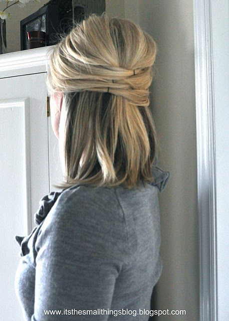 .Hair Ideas, Medium Length, Hair Tutorials, Elegant Half, Half Up, Shorts Hair, Hair Style, Updo, Bobby Pin