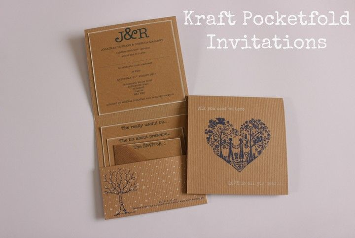 DIY Tutorial: Kraft Pocketfold Invitations by Love Knot Creations https://www.facebook.com/loveknotcreations on Boho Weddings blog
