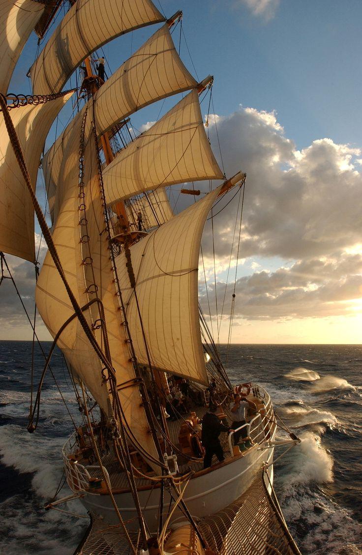 sailing on the open sea
