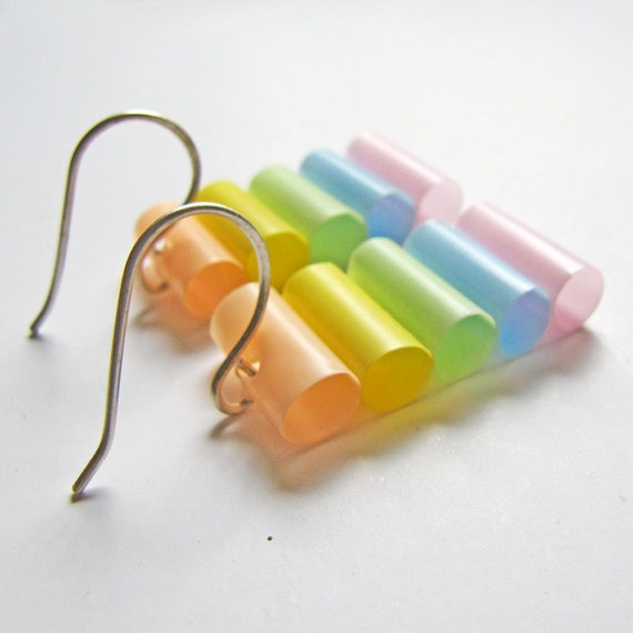 Pastel earrings  Avant Garde jewelry  Lightweight by HippieKingdom, $16.00