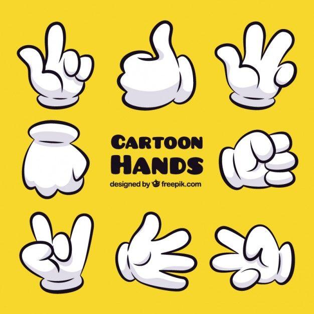 Gestos da mão dos desenhos animados Vetor grátis