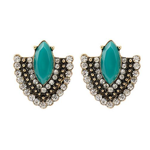 2015 Brincos Vintage Copper Women Green Stone Crystal Zircon Charms Statement Stud Earrings for Women Fashion Girls Jewelry