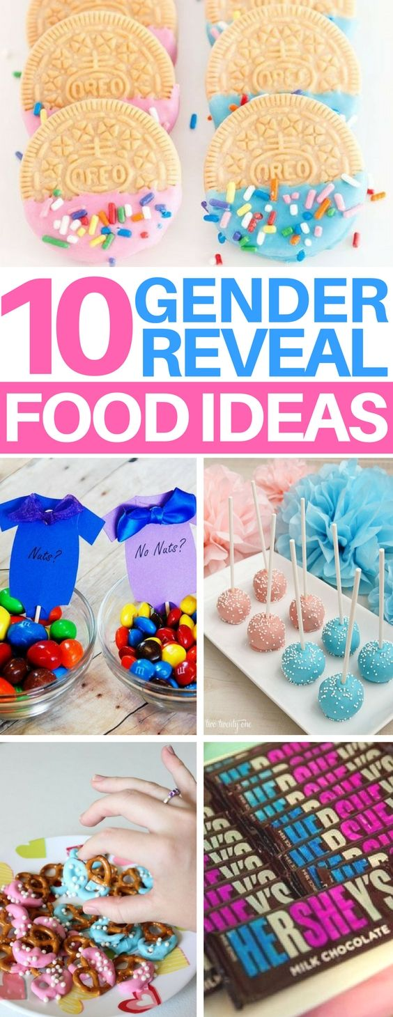 LOVE these gender reveal party food ideas! There's ideas for everything from appetizers to desserts and I am totally stealing the idea of doing a cotton candy bar! #genderrevealparty #baby #pregnant