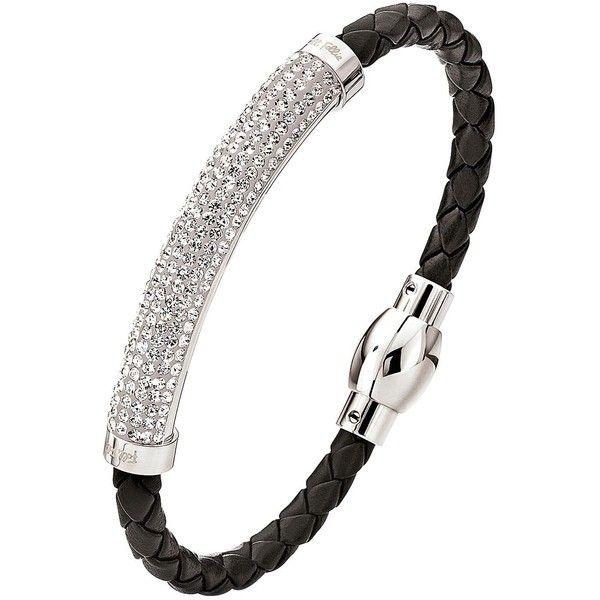 Folli Follie Dazzling Crystal Set Silver Plated And Black Pu Bracelet ($105) ❤ liked on Polyvore featuring jewelry, bracelets, folli follie, silver plating jewelry, crystal jewelry, crystal stone jewelry and folli follie jewellery