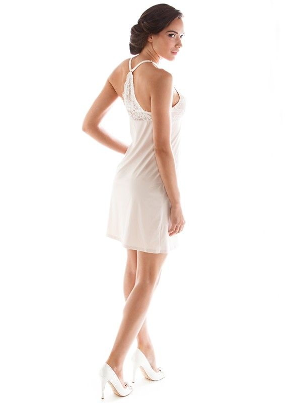 9193 Lace and Microfiber V-Neck Racerback Chemise  by Montelle Intimates available on Now That's Lingerie #ShopNTL