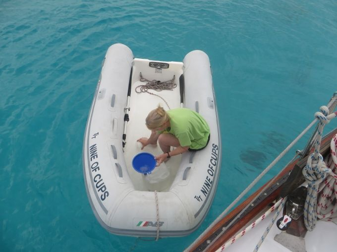 collecting rain water in the dinghy for...laundry