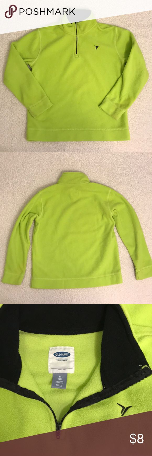 Old Navy Active Sweatshirt  Old Navy Active neon yellow/green fleece sweatshirt in great used condition. Partial zipper. Size M(8). Old Navy Shirts & Tops Sweatshirts & Hoodies