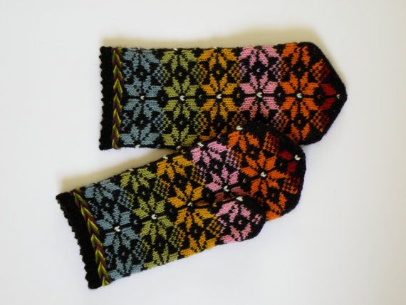 High quality hand knitted warm wool mittens , gloves patterned rainbow colors