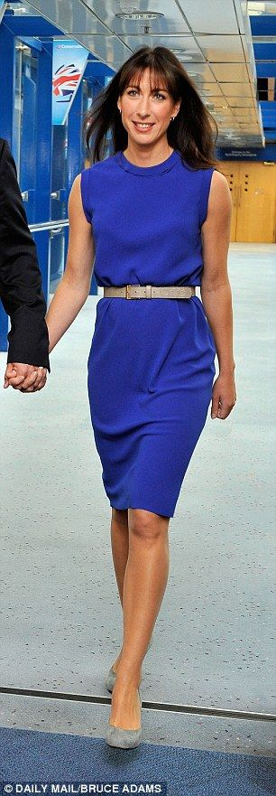 Samantha Cameron knows how to look smart and sophisticated in high neck shift dresses with...