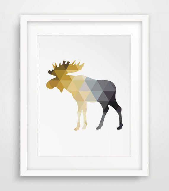 Grey Yellow Art Moose Art Yellow Grey Moose by MelindaWoodDesigns #Moosedecor #Mooseprint #printableart