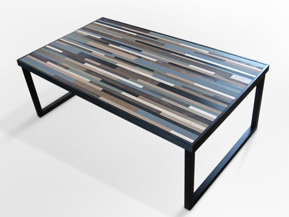 Reclaimed Wood Table Modern Industrial Wood Coffee Table With Square Metal Legs