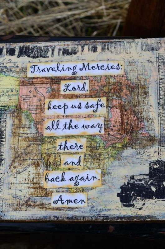 traveling mercies prayer collage on wood 6 5 x 7 by jodeneshaw   30 00
