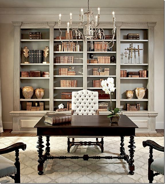 This bookcase is so beautifully done, it is recessed into the wall, this saves space.   South Shore Decorating Blog