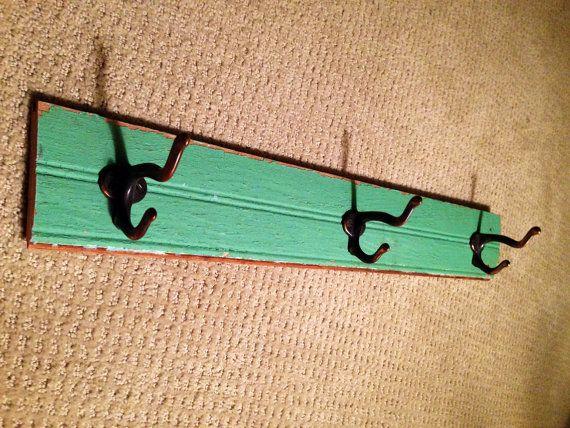 Repurposed Rack with Vintage Hooks on Etsy, $45.00