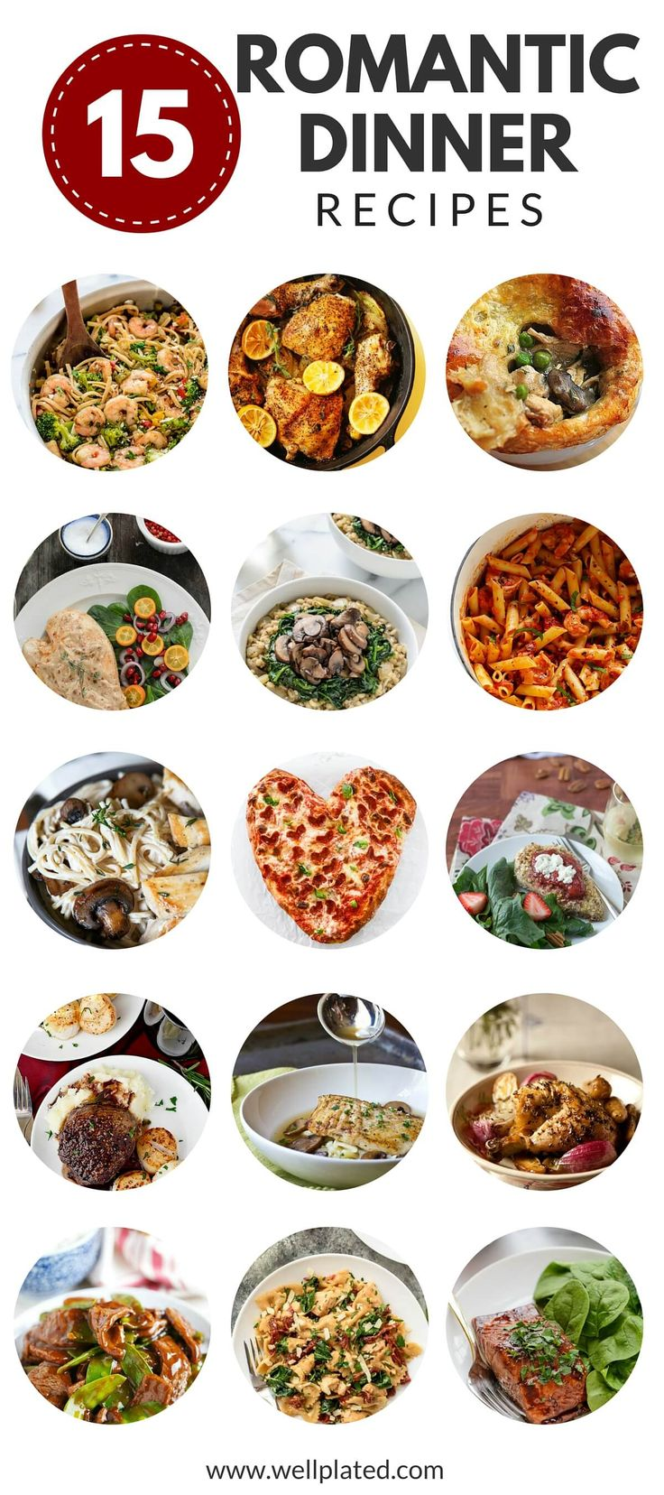 15 Date Night Dinners. Skip the crowd and expense of going out and try one of these easy, romantic dinners, perfect for a special night in! www.wellplated.com