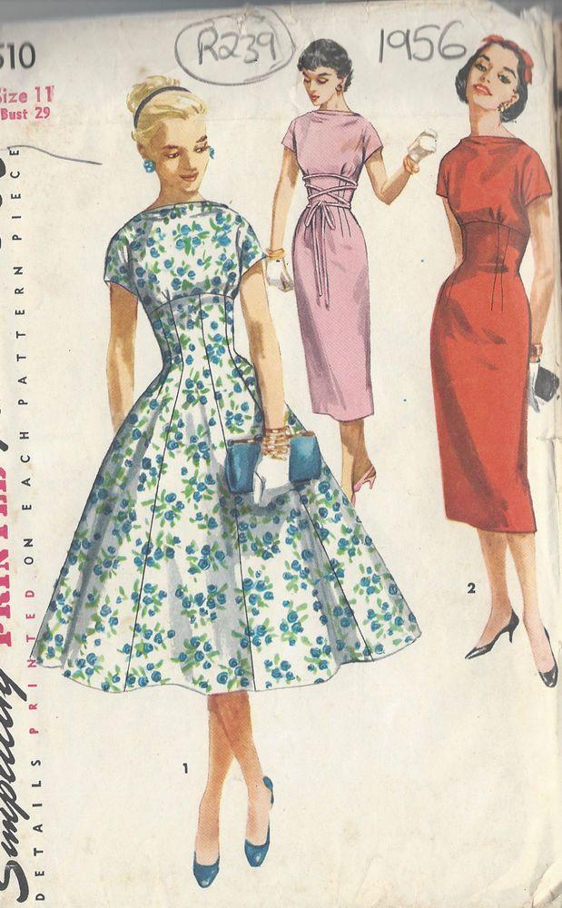 1956 Vintage Sewing Pattern B29 Dress (R239)