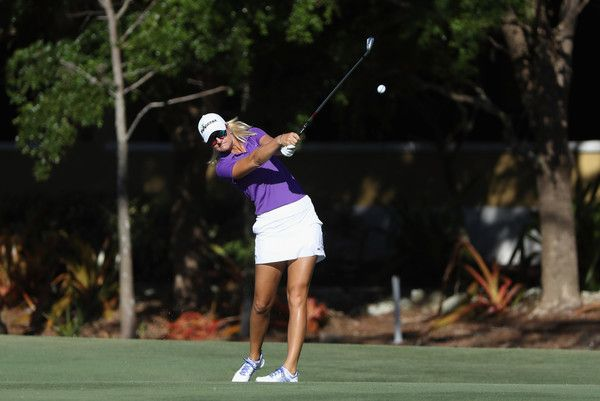 Anna Nordqvist Photos - Anna Nordqvist of Sweden plays a shot on the first hole during the final round of the CME Group Tour Championship at the Tiburon Golf Club on November 19, 2017 in Naples, Florida. - CME Group Tour Championship - Final Round
