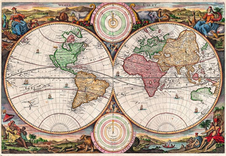 antique world map old vintage map 1730 fade resistant hd print or canvas