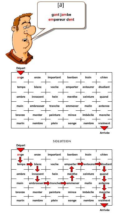 Great oral game boards! Affiche pour apprendre à prononcer le français FLE - Labyrinthe pour travailler sur les nasales.