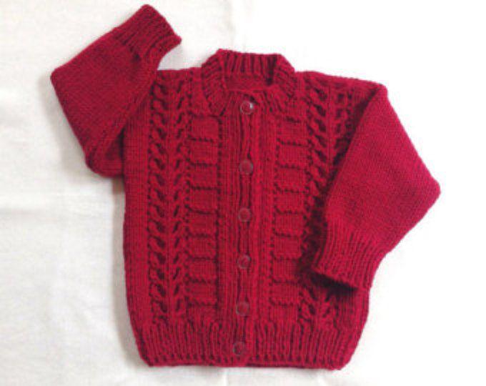 Cardigan niño rojo - niños de 12 a 24 meses - Rebeca de suéter rojo - puente niño rojo - Navidad