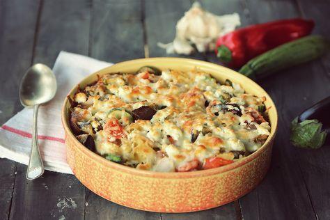 μακαρόνια στο φούρνο με λαχανικά