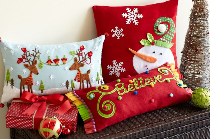 Pier 1 Reindeer, Believe and Snowman Pillows